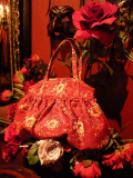ハンドメイドバッグ・イタリア製生地使用・バルーンバッグ 赤×ゴールド