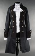 女性用 海賊ジャケット黒無地☆中世貴族漂うゴージャスなゴシックベルサイユジャケット・ Sサイズ