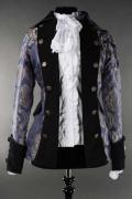 女性用 海賊ジャケット☆中世貴族漂うゴージャスなゴシックベルサイユジャケット・Blue Royal Female Pirate Jacket