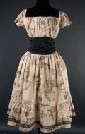 ゴシックワンピース☩地図柄 Map Gothabilly Dress