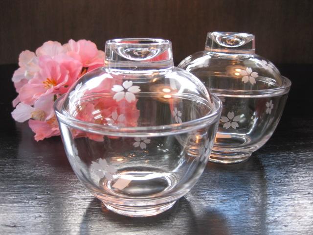 桜のガラス椀2客セット