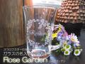スワロフスキー付きガラスの名入りマグカップ・RoseGarden