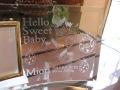 出産祝い用ガラスの名入れフォトフレーム【コウノトリのお仕事】・スワロフスキークリスタル付き