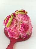 【最高級リボン使用】ピンクグリーン【お花ミラー】