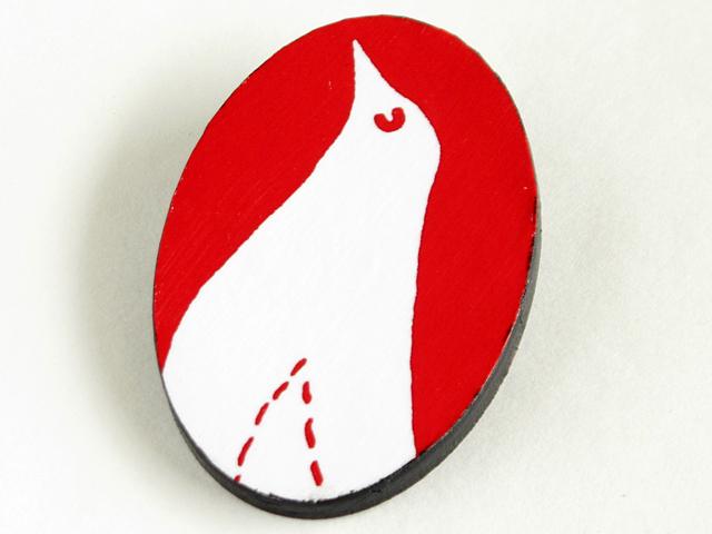 鳥 ブローチ 赤