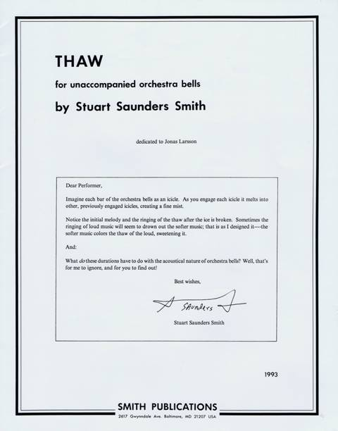 Smith , Stuart Saunders - Thaw for Unaccompanied Orchestra Bells