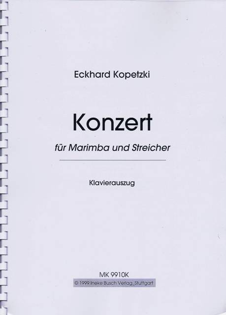 Kopetzki , Eckhard - Konzert fur Marimba und Streicher (Piano reduction) (特価品)