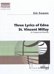 Ewazen , Eric - Three Lyrics of Edna St. Vincent Millay for Trumpet and Marimba (スコア・パート譜セット)