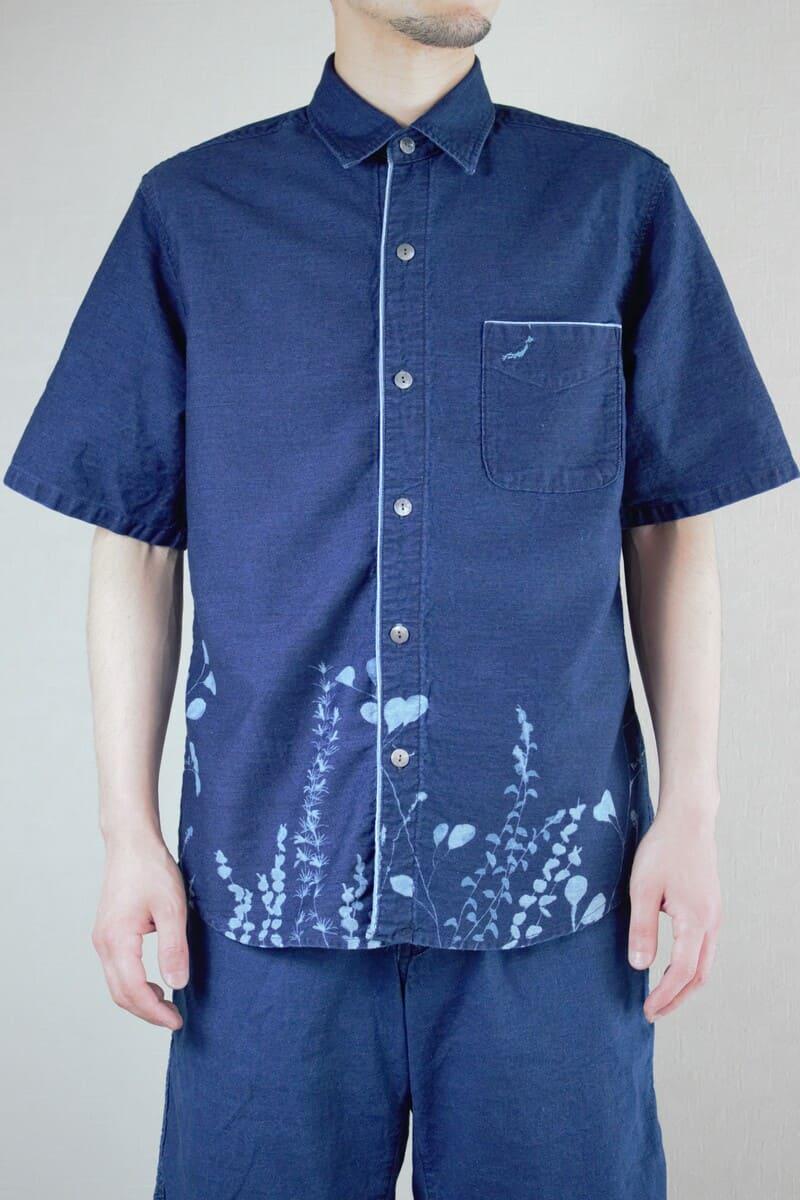 メンズ花抜染半袖シャツ