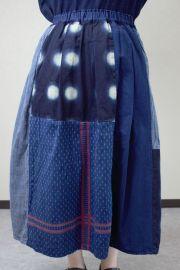 切り替えスカート(古布刺子)