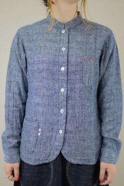 レディース裾ラウンドスタンドカラーシャツ
