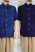 メンズ半袖台襟シャツ
