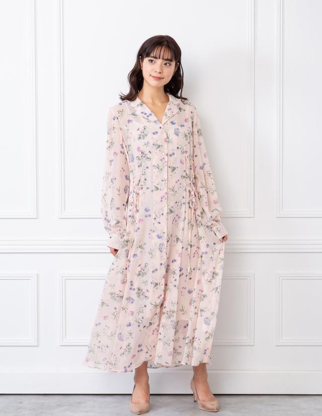 花柄シャツワンピース/ピンク (送料無料)