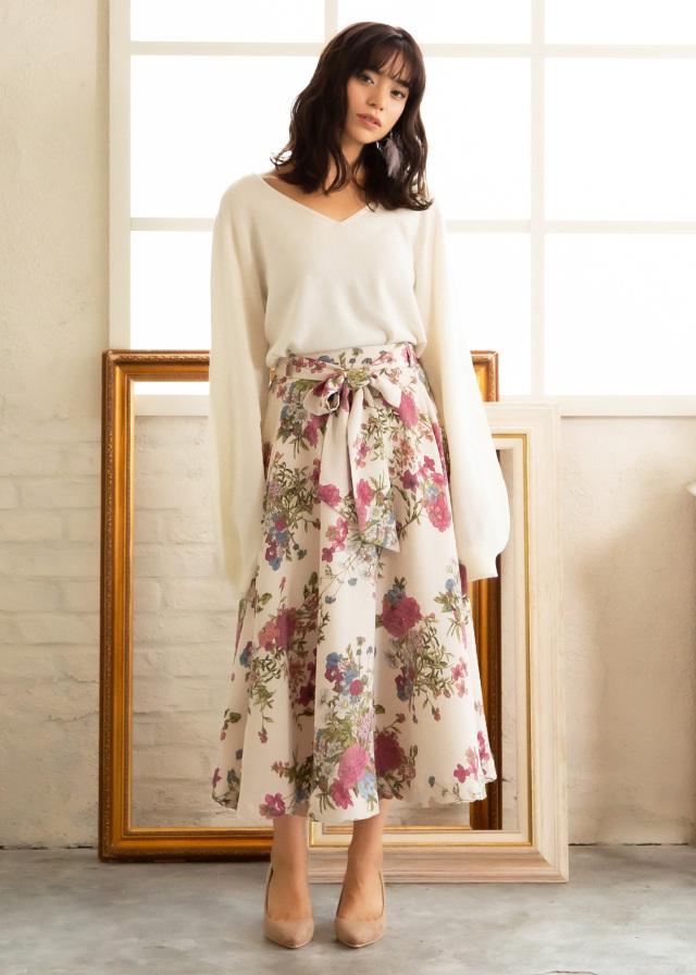 花柄ちりめんスカート