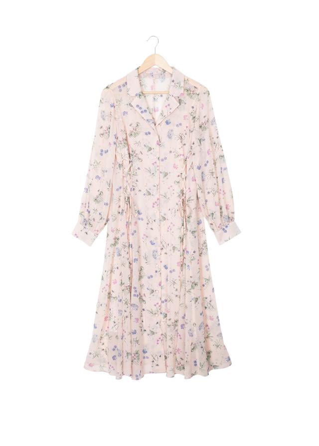 編み上げシャツワンピース スリップ付き  ピンク(送料無料)