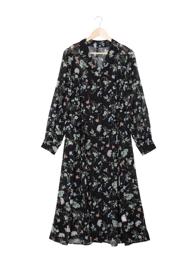 編み上げシャツワンピース スリップ付き  ブラック(送料無料)