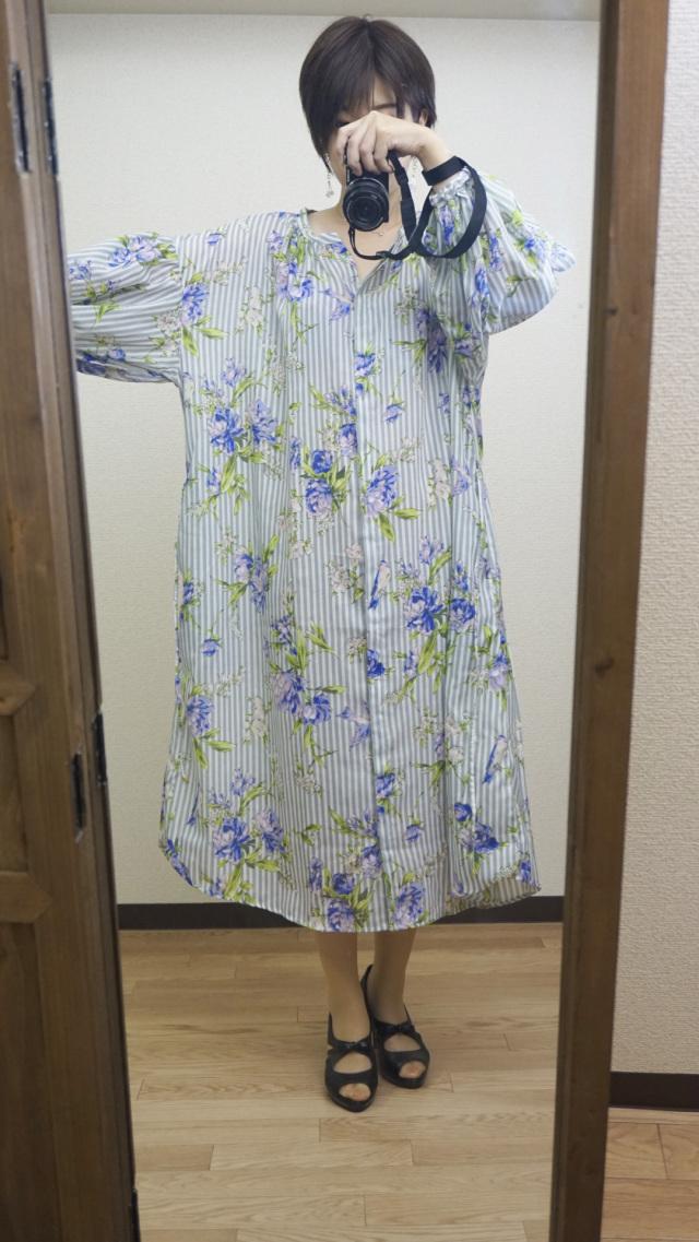 Tomoyo's select ストライプシャツワンピース グレー