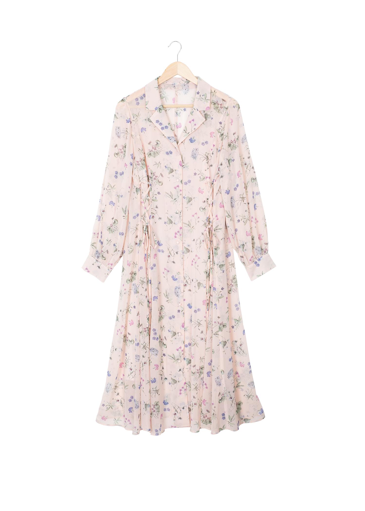 編み上げシャツワンピース(スリップ付き) ピンク