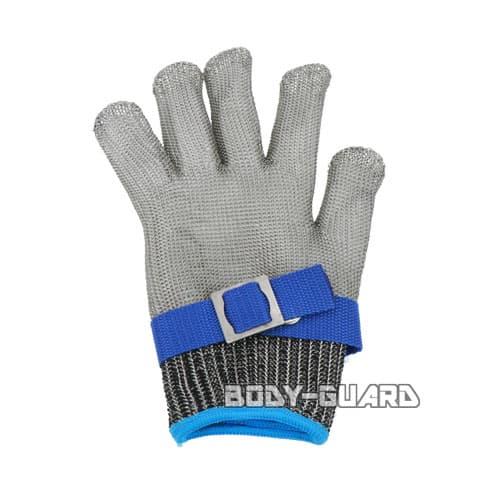 ステンレスグローブ ホック式ベルト付き ブルー