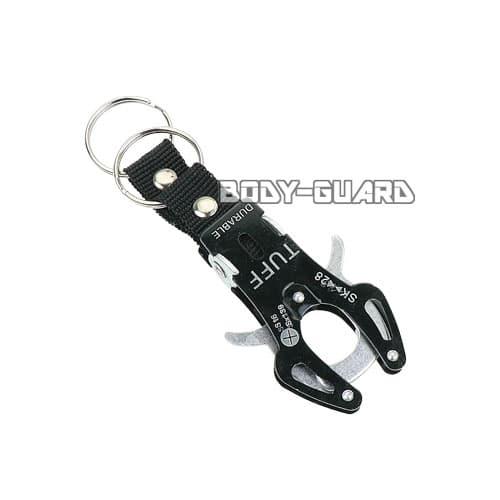 タフキーホルダー タイプ2 小 ブラック キーリング2個