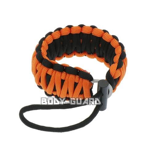 パラコードブレスレット フリントスティック付き ループタイプ ブラック×オレンジ