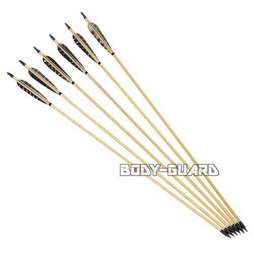 コンポジットボウ用 木製 矢 6本 (ベイン:七面鳥柄)