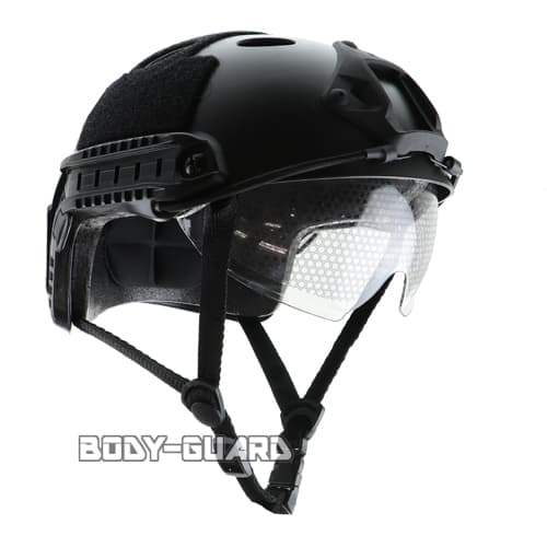 ファストヘルメット ゴーグル付き ブラック