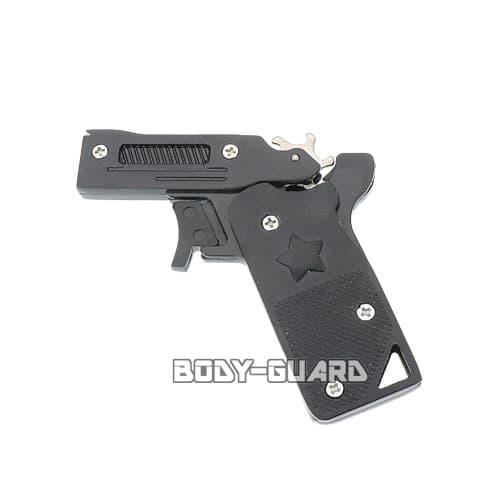 折りたたみ式 メタリック ゴム銃 ブラック