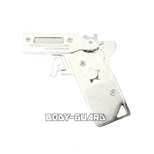 折りたたみ式 メタリック ゴム銃 シルバー