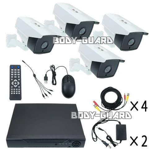 防犯カメラ レコーダーセット HDD容量2TB 高画質AHD 200万画素 ボックス型カメラ4台セット