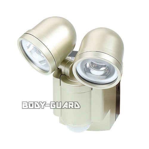 防雨 LEDセンサーライト ●2灯 乾電池式 ESL-302BT ★ワイヤレスチャイム増設可能