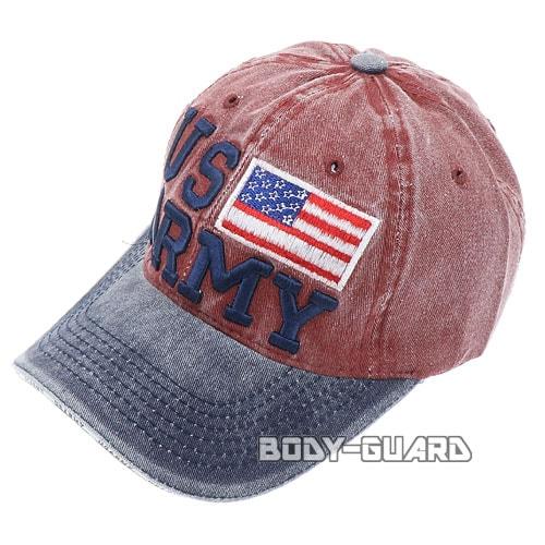 USARMY 国旗付き キャップ ネイビー×ボルドー