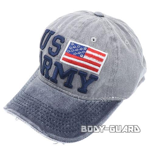 USARMY 国旗付き キャップ ネイビー×グレー