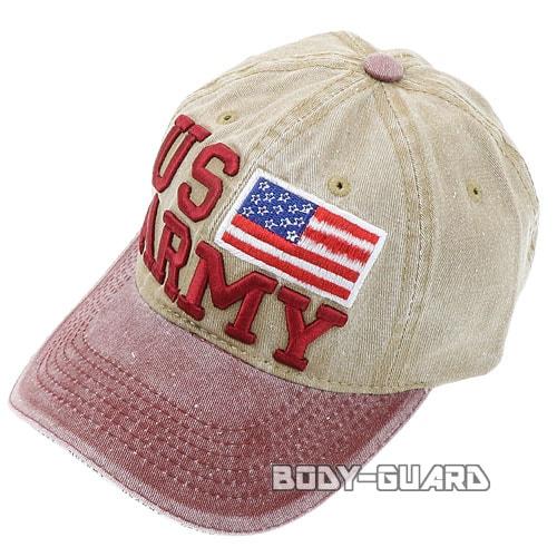 USARMY 国旗付き キャップ レッド×ベージュ