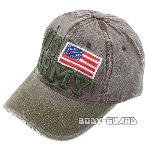 USARMY 国旗付き キャップ グリーン×ブラック