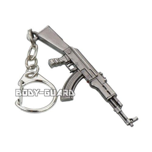 AK-47ライフル キーホルダー 燻しシルバー