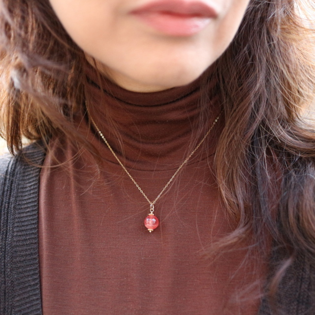 インカローズの一粒ネックレス