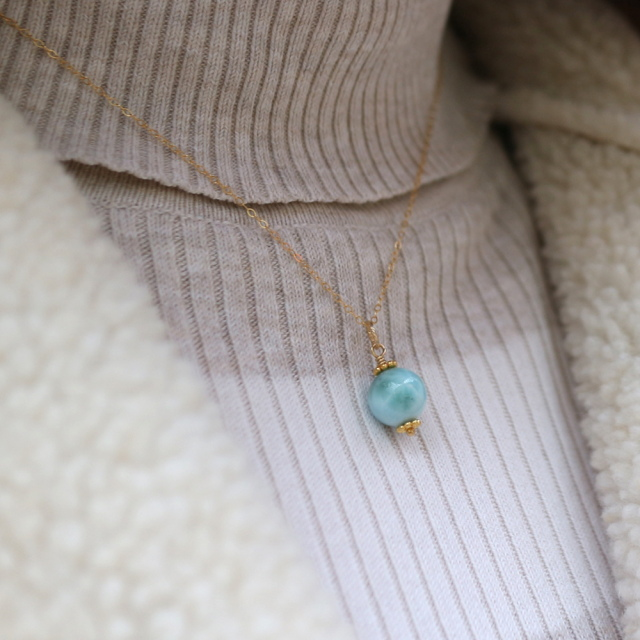 ラリマーの一粒ネックレス