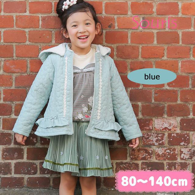 【セール10%OFF】(秋冬)Souris(スーリー) フラワーキルトコート 80cm  90cm 95cm 100cm 110cm 120cm 130cm 140cm