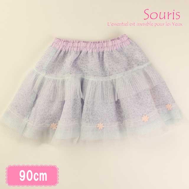 【セール20%OFF 】(春夏)Souris(スーリー) シアーフラワースカート 90cm       【おまかせ配送で送料お得】 _3