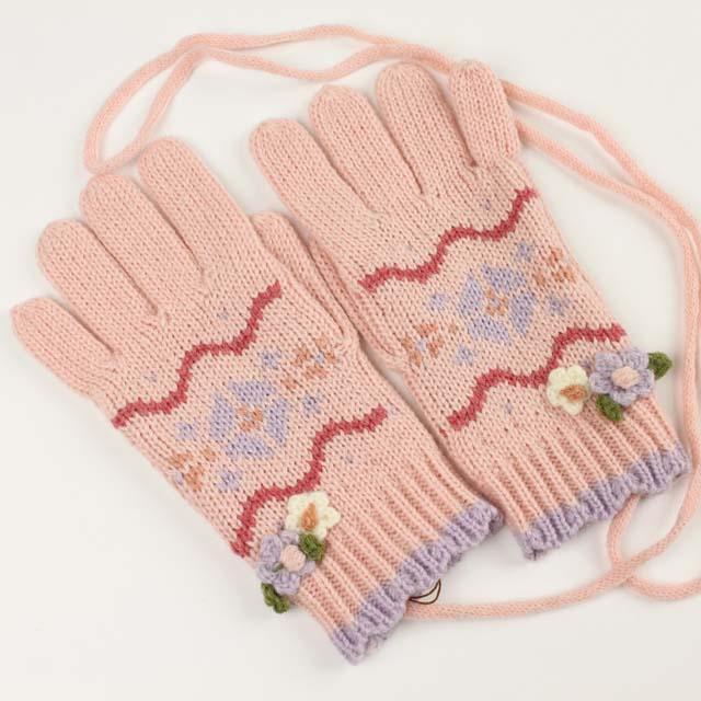 【セール30%OFF】Souris(スーリー) 5本指ニット手袋 ピンク M L    【おまかせ配送で送料お得】