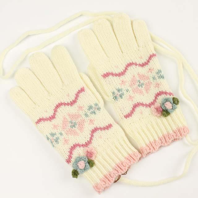 【セール30%OFF】Souris(スーリー) 5本指ニット手袋 オフ白 M L    【おまかせ配送で送料お得】