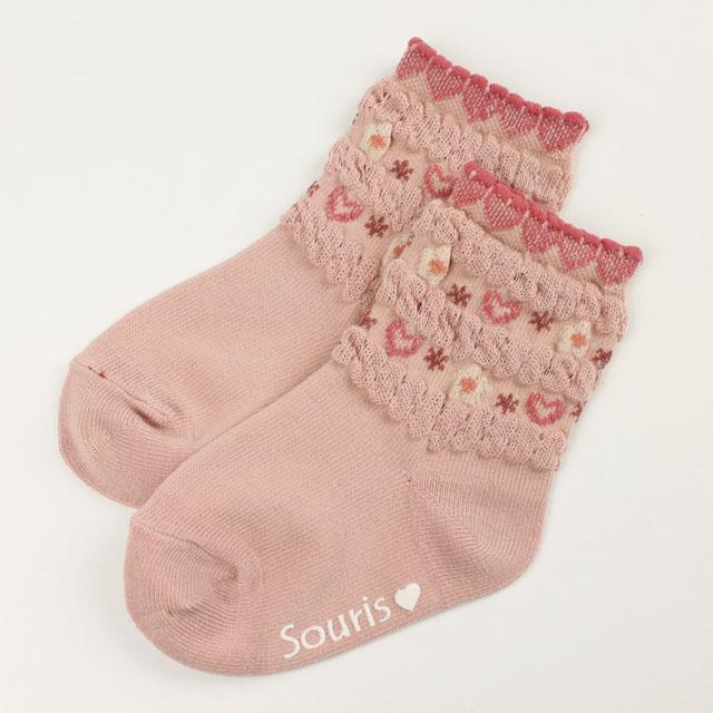 【セール30%OFF】Souris(スーリー) フラワーハートソックス ピンク 11cm-13cm 13cm-15cm 16cm-18cm   【おまかせ配送で送料お得】