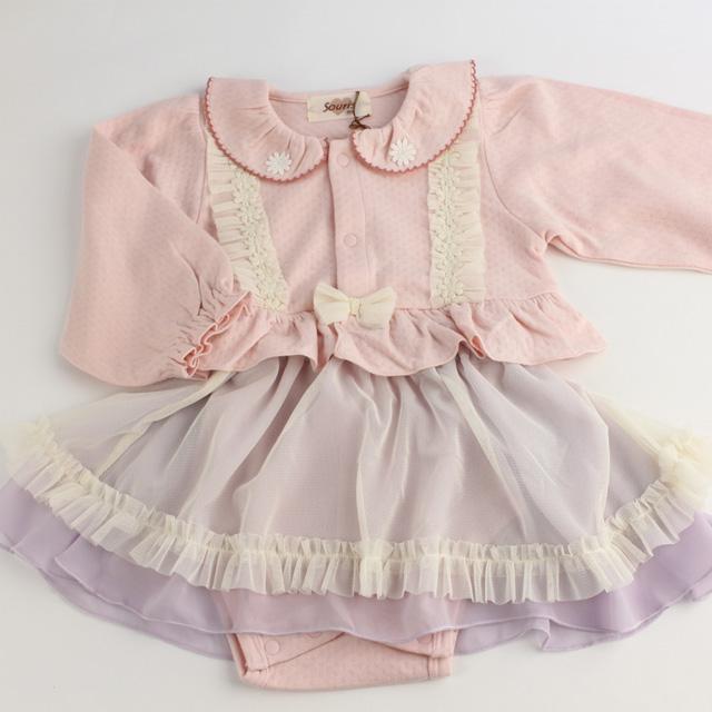 【セール20%OFF】Souris(スーリー) ロンパース+スカート ピンク 80cm    【送料無料】
