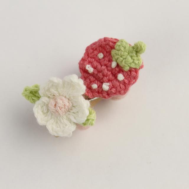 Souris(スーリー) 苺フラワーポニー2個セット ピンク Free     【おまかせ配送で送料お得】◆