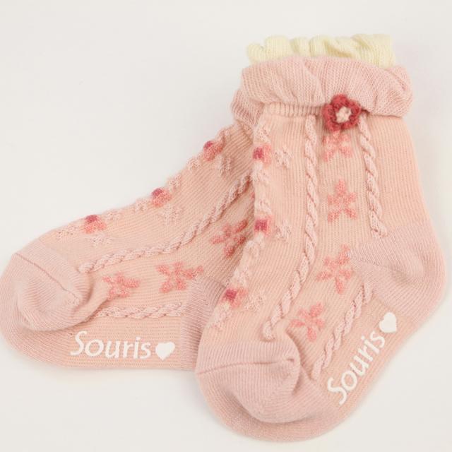 【セール15%OFF】Souris(スーリー) モチーフフラワーSOX ピンク 9-11cm 11-13cm 13-15cm 16-18cm  【おまかせ配送で送料お得】