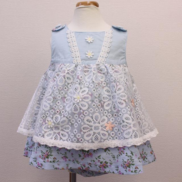 【セール10%OFF】Souris(スーリー) クラシックフラワーPTミルキースーツ ブルー 80cm   90cm