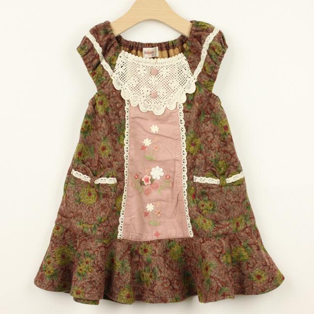 【セール10%OFF】Souris(スーリー) クラシカルフラワージャンバースカート ピンク 100cm 110cm 120cm 130cm