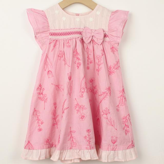 【セール10%OFF】Souris(スーリー) フラワー刺繍ワンピース ピンク 110cm 120cm 130cm   【おまかせ配送で送料お得】