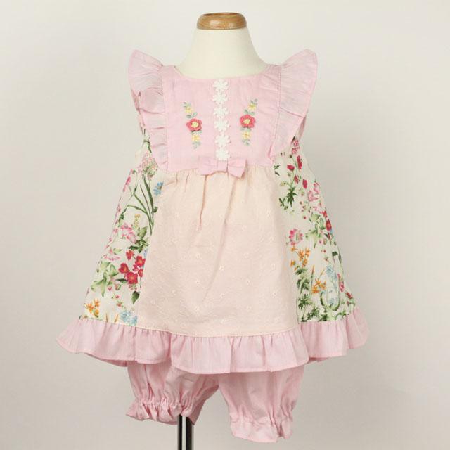 【セール10%OFF】Souris(スーリー) フラワーPTミルキースーツ ピンク 80cm   90cm   【おまかせ配送で送料お得】